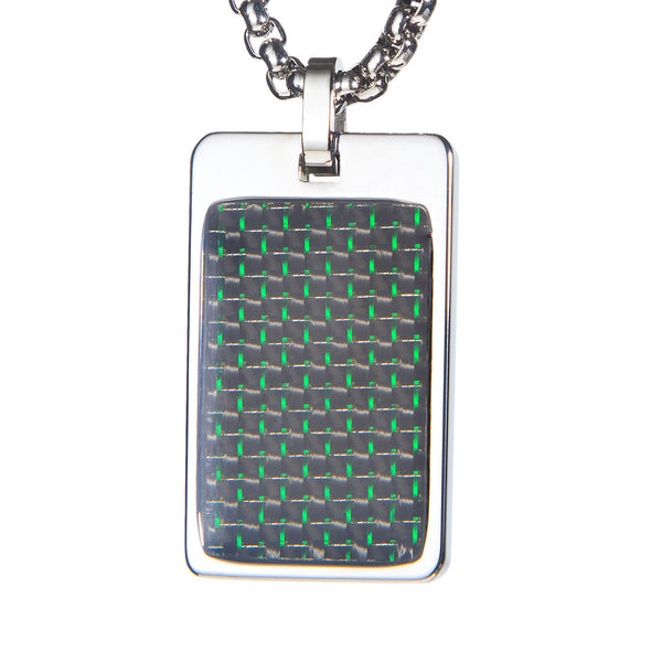 Unique Tungsten Tag Necklace. 4mm wide Surgical Stainless Steel Box Chain. Green & Black Carbon Fiber.