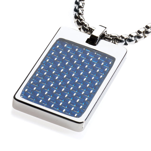 Unique Tungsten Tag Necklace. 4mm wide Surgical Stainless Steel Box Chain. Blue Carbon Fiber.