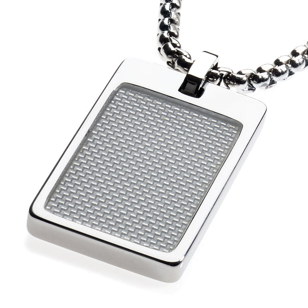 Unique Tungsten Tag Necklace. 4mm wide Surgical Stainless Steel Box Chain. White Carbon Fiber.