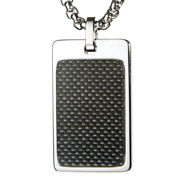 Unique Tungsten Tag Necklace. 4mm wide Surgical Stainless Steel Box Chain. Black Carbon Fiber.