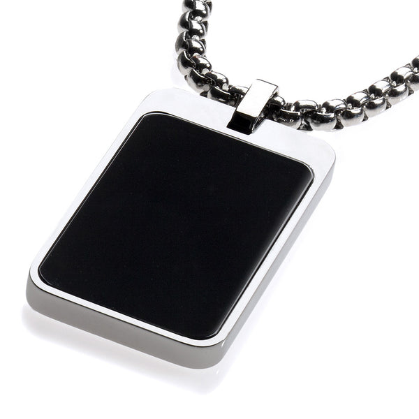 Most Unique Tungsten Tag Necklace. 4mm wide Surgical Steel Chain. High-Tech Ceramic Inlay Black.