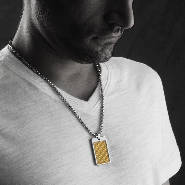 Unique Tungsten Tag Necklace. 4mm wide Surgical Stainless Steel Box Chain. Gold Carbon Fiber.