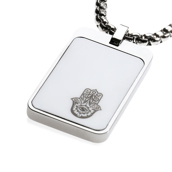 Unique Tungsten Tag Necklace. 4mm wide Surgical Steel Chain. White High-Tech Ceramic. Hamsa Hand.