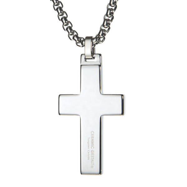 Unique Tungsten Cross Pendant. 4mm wide Surgical Stainless Steel Box Chain. Wood Inlay.