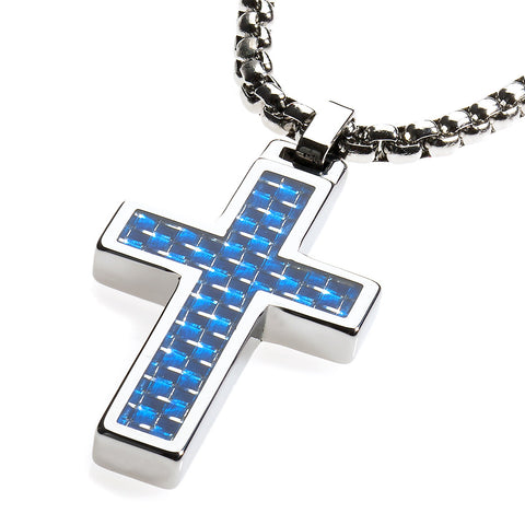 Unique Tungsten Cross Pendant .4mm wide Surgical Stainless Steel Box Chain. Blue Carbon Fiber Inlay.