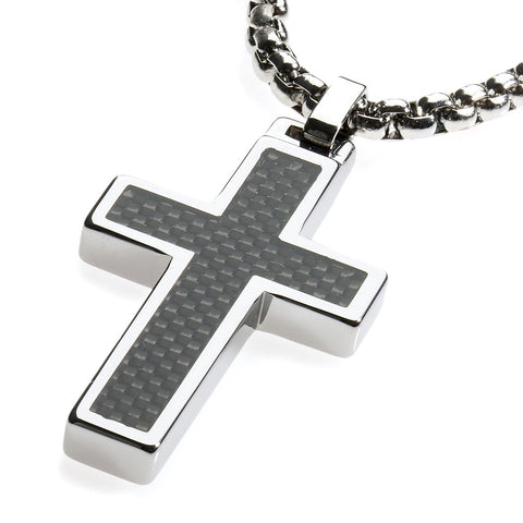 Unique Tungsten Cross Pendant .4mm wide Surgical Stainless Steel Box Chain. Black Carbon Fiber Inlay.