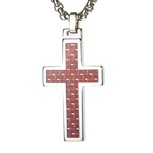 Unique Tungsten Cross Pendant. 4mm wide Surgical Stainless Steel Box Chain. Red Carbon Fiber Inlay.