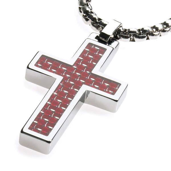 Unique Tungsten Cross Pendant .4mm wide Surgical Stainless Steel Box Chain. Red Carbon Fiber Inlay.