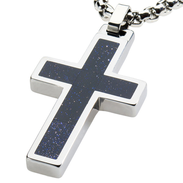 Unique Tungsten Cross Pendant .4mm wide Surgical Stainless Steel Box Chain. Goldstone Inlay.