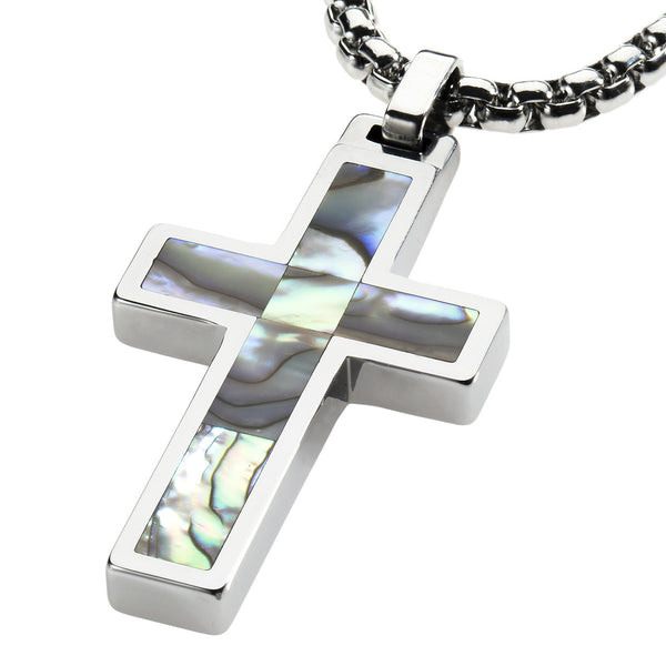 Unique Tungsten Cross Pendant .4mm wide Surgical Stainless Steel Box Chain. Abalone Inlay.