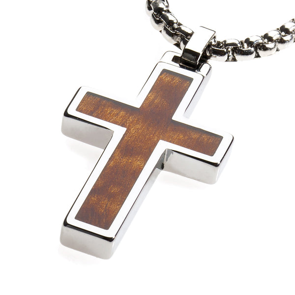 Unique Tungsten Cross Pendant .4mm wide Surgical Stainless Steel Box Chain. Wood Inlay.