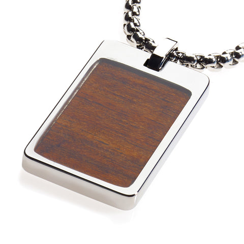 Unique Tungsten Tag Necklace. 4mm wide Surgical Stainless Steel Box Chain. Koa Wood Inlay.