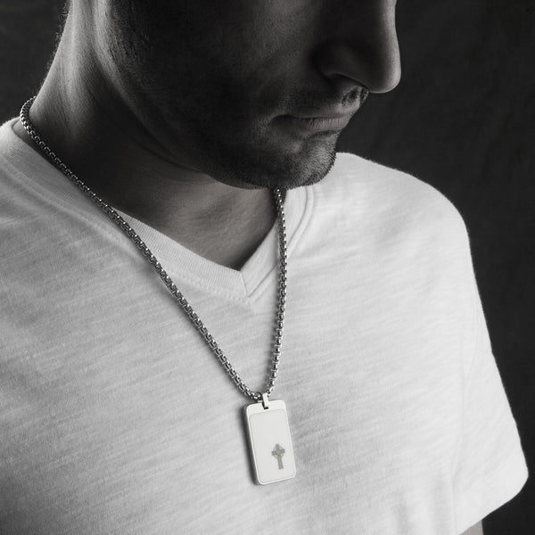 Most Unique Tungsten Tag Necklace. 4mm wide Surgical Steel Chain. White High-Tech Ceramic. Celtic Cross.