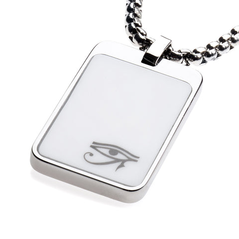 Unique Tungsten Tag Necklace. 4mm wide Surgical Steel Chain. White High-Tech Ceramic. Eye of Horus.