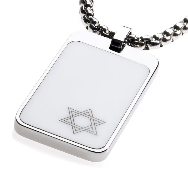 Unique Tungsten Tag Necklace. 4mm wide Surgical Steel Chain. White High-Tech Ceramic. Star of David.