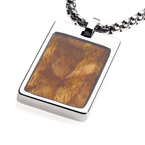 Unique Tungsten Tag Necklace. 4mm wide Surgical Stainless Steel Box Chain. Wood Inlay.