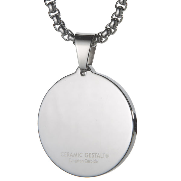 Unique Tungsten Medallion Necklace. Stainless Steel Saint Christopher Inlay.