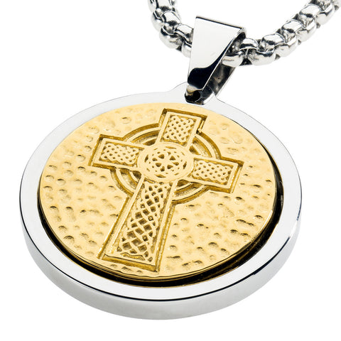 Mens necklaces gestaltcouture unique tungsten medallion necklace stainless steel celtic cross inlay with 18kt gold plating aloadofball Image collections