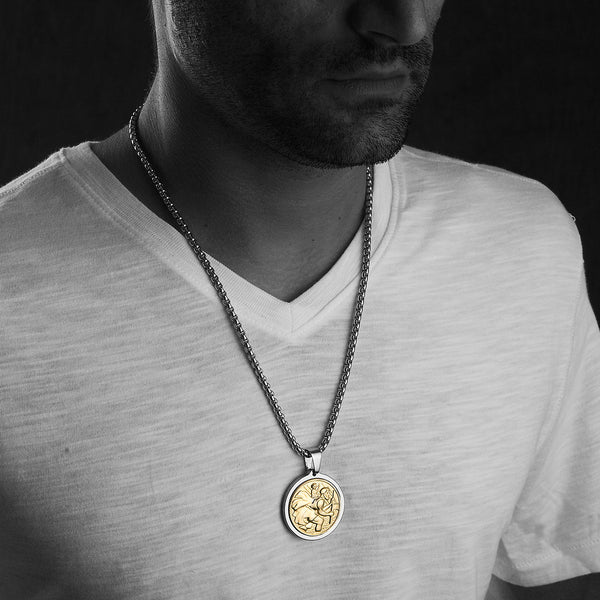 Unique Tungsten Medallion Necklace. Stainless Steel Saint Christopher Inlay with 18kt Gold Plating.