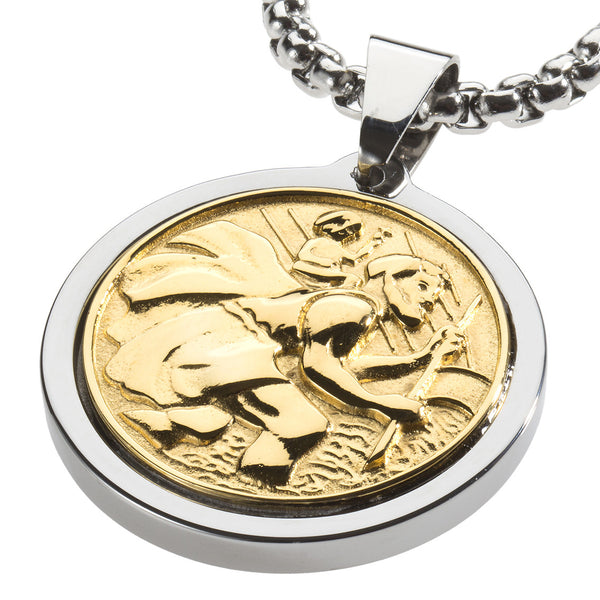 Unique Tungsten Medallion Necklace. Stainless Steel Tree of Life Inlay with 18kt Gold Plating.