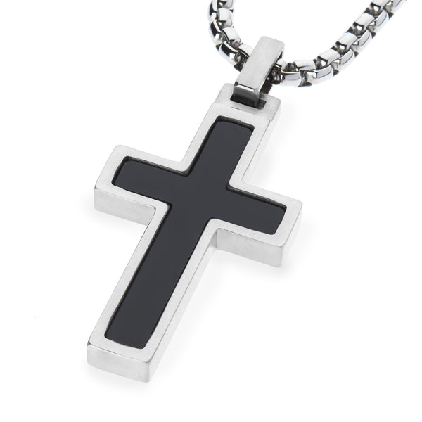 Unique Titanium Cross Pendant with Onyx Inlay. 4mm wide Surgical Stainless Steel Box Chain.