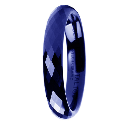 GESTALT® Blue Ceramic Ring - 4mm width. Faceted Design.