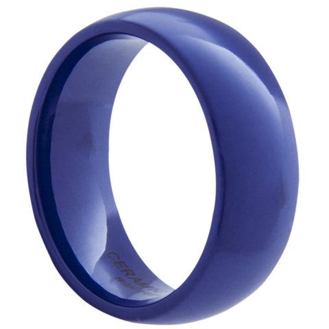 GESTALT® Blue Ceramic Ring - 8mm width. Domed & Polished.