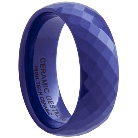 GESTALT® Blue Ceramic Ring - 8mm width. Faceted Design.