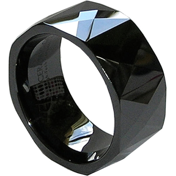 GESTALT® Black Ceramic Ring - 10mm width. Faceted Diamond Cut.