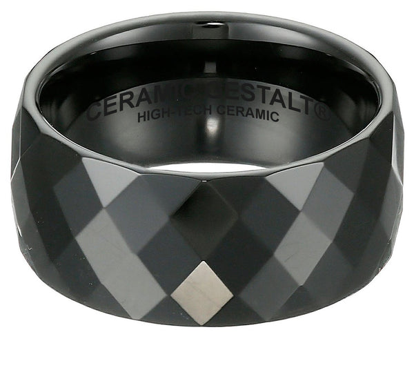 GESTALT® Black Ceramic Ring - 10mm width. Faceted Design.