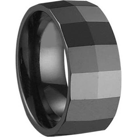 GESTALT® Black Ceramic Ring - 10mm width. Square Faceted Design.
