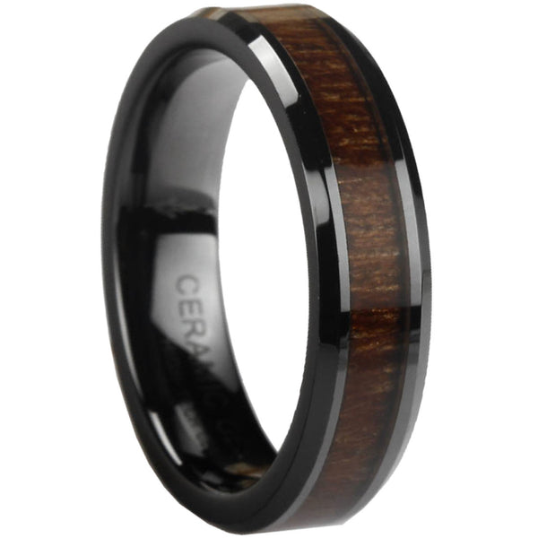 GESTALT® Black Ceramic Ring with KOA Wood Inlay - 6mm width. Comfort Fit.