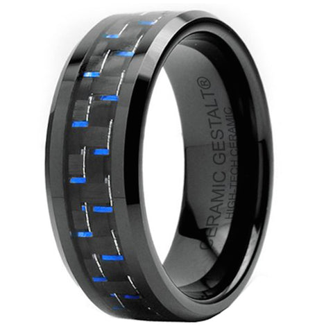 GESTALT® Black Ceramic with Black and Blue Carbon Fiber Inlay - 8mm width. Comfort Fit.