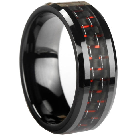 GESTALT® Black Ceramic with Black and Red Carbon Fiber Inlay - 8mm width. Comfort Fit.