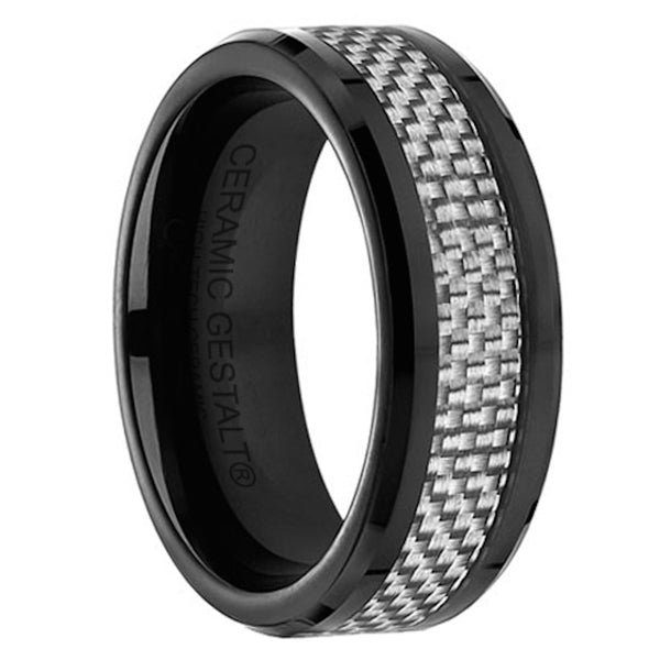 GESTALT® Black Ceramic with White Carbon Fiber Inlay - 8mm width. Comfort Fit.