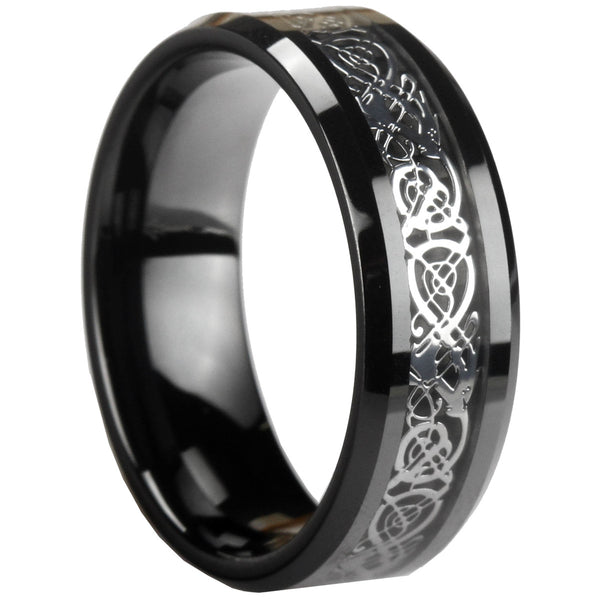 GESTALT® Black Ceramic Ring with Silver Dragon Inlay - 8mm width. Comfort Fit.