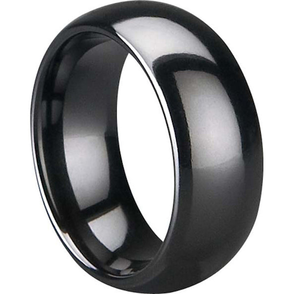 GESTALT® Black Ceramic Ring - 8mm width . Domed & Polished Design.