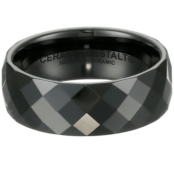 GESTALT® Black Ceramic Ring - 8mm width . Faceted Design.