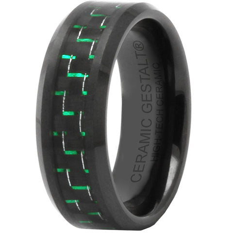 GESTALT® Black Ceramic with Black and Green Carbon Fiber Inlay - 8mm width. Comfort Fit.