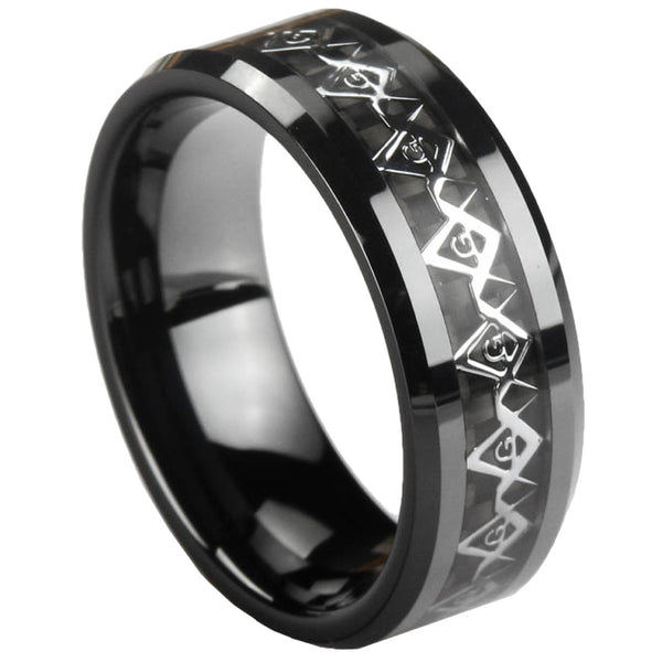 GESTALT® Black Ceramic Unique Masonic Ring - 8mm width. Comfort Fit.