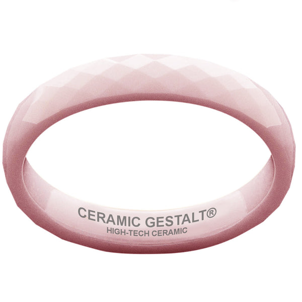 GESTALT® Pink Ceramic Ring - 4mm Width. Faceted Design. Comfort Fit.