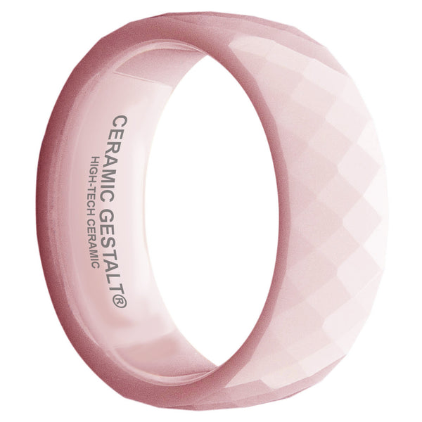 GESTALT® Pink Ceramic Ring - 8mm Width. Faceted Design. Comfort Fit.