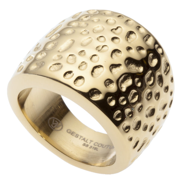 18kt Gold Plated Cocktail Ring by GestaltCouture®. Hammered Design. Platinum Style Surgical Stainless Steel.