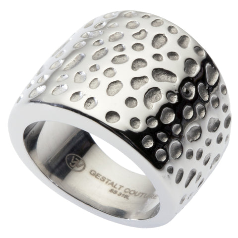 Cocktail Ring by GestaltCouture®. Hammered Design. Platinum Style Surgical Stainless Steel. RSS18H5