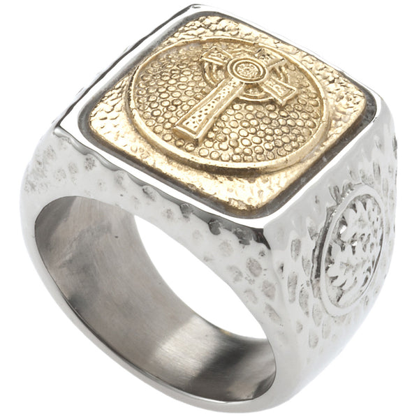 Unique Tree of Life Signet Ring. Platinum Style Surgical Stainless Steel with 18kt Gold Plating. RSS24CRS5