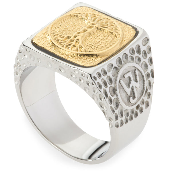 Unique Tree of Life Signet Ring. Platinum Style Surgical Stainless Steel with 18kt Gold Plating.
