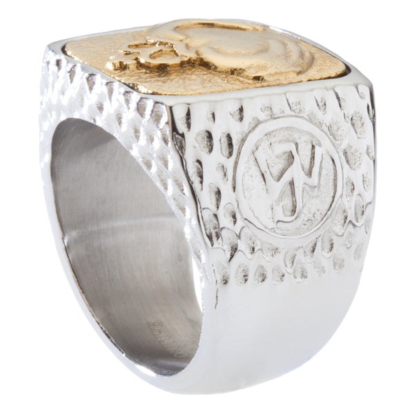 Unique Claddagh Signet Ring. Platinum Style Surgical Stainless Steel with 18kt Gold Plating.