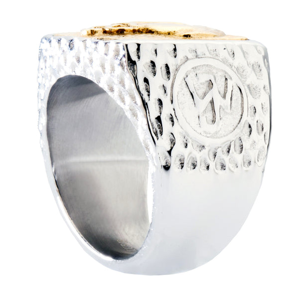 Celtic Cross Signet Ring. Platinum Style Surgical Stainless Steel with 18kt Gold Plating.