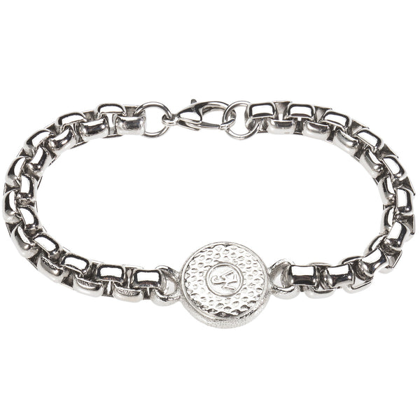 Tree of Life Medallion Bracelet. Platinum Style Surgical Stainless Steel with 18kt Gold Plating.