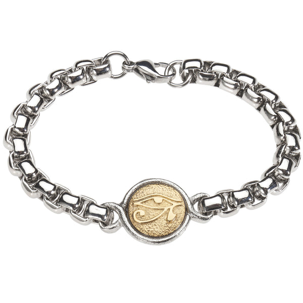 Eye of Horus Medallion Bracelet. Platinum Style Surgical Stainless Steel with 18kt Gold Plating. 8.5 inch.
